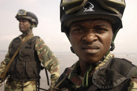 Cameroonian navy sailors prepare to perform a visit, board, search and seizure drill Nov. 21, 2006, in Douala, Cameroon, during exercise RECAMP V, which is intended to improve relations between the United States and European and Central African countries.  (U.S. Air Force photo by Staff Sgt. Jason T. Bailey) (Released)