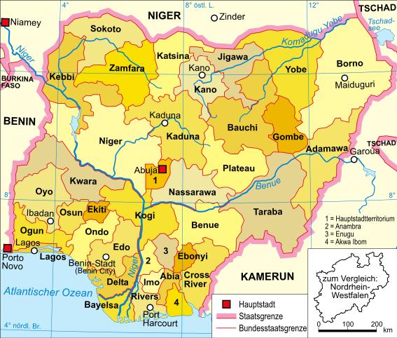 Nigeria-karte-politisch