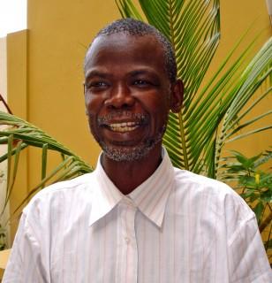 Portrait of older african man close up face