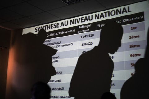 A powerpoint presentation shows the preliminary results of Burundi's Presidential elections as they are being presented by the National Electoral committee in Bujumbura, Burundi, Friday July 24, 2015. Burundi's electoral chief says President Pierre Nkurunziza has won a third term in office, amid unrest over whether his third term is constitutional. (AP Photo/Jerome Delay)