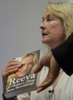 June Steenkamp, the mother of the late Reeva Steenkamp who was shot dead by her  boyfriend Oscar Pistorius in 2013, speaks at the launch of her book, 'Reeva, A Mothers Story.' in Johannesburg  Tuesday, March 10, 2015.  Steenkamp said that she did not care about an upcoming appeal hearing by the star athlete. Pistorius' lawyers will challenge a judge's decision to allow prosecutors to appeal the runner's negligent killing conviction later this week. (AP Photo/Shiraaz Mohamed)
