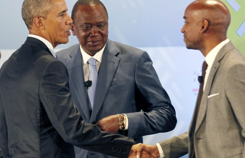 "President Barack Obama, left, shaking with Jehiel Oliver Hello tractor entrepreneur, with Kenyan President Uhuru Kenyatta, centre, after taking part in a panel discussion at the Global Entrepreneurship Summit at the United Nations Compound. Saturday, July 25, 2015, in Nairobi.  U.S. President Obama heralded Africa as a continent ""on the move"", as he visits Kenya  Saturday, the East African nation where he has deep family ties. (AP Photo/Khalil Senosi)"