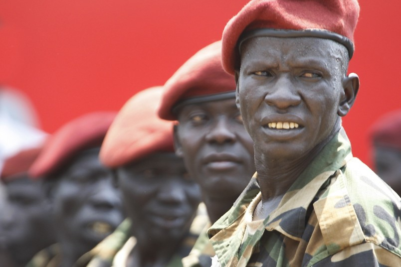 South Sudan's presidential guard wait the arrival of foreign dignitaries invited to participate in the country's official independence celebrations in the capital city of Juba.