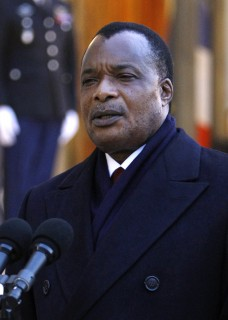 Republic of Congo President Denis Sassou Nguesso, addresses reporters following his  meeting with French President Nicolas Sarkozy, at the Elysee Palace in Paris, Wednesday Feb. 8, 2012.(AP Photo/Remy de la Mauviniere)