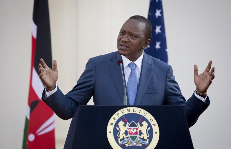 Kenya's President Uhuru Kenyatta answers questions from the media after meeting with President Barack Obama at State House in Nairobi, Kenya Saturday, July 25, 2015. (AP Photo/Ben Curtis)