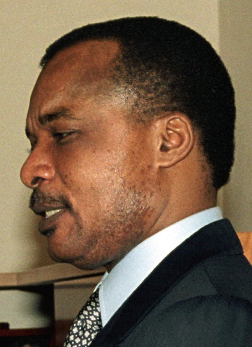 ** FILE ** Thois is an undated, but recent photo of President of the Republic of Congo Denis Sassou-Nguesso that was made available Friday, June 14, 2002.  Automatic gunfire sounded across Brazzaville, Republic of Congo, Friday, June 14, 2002 as rebels launched their first attack on the capital since restarting this West African nations's civil war in late March. (AP Photo, File)