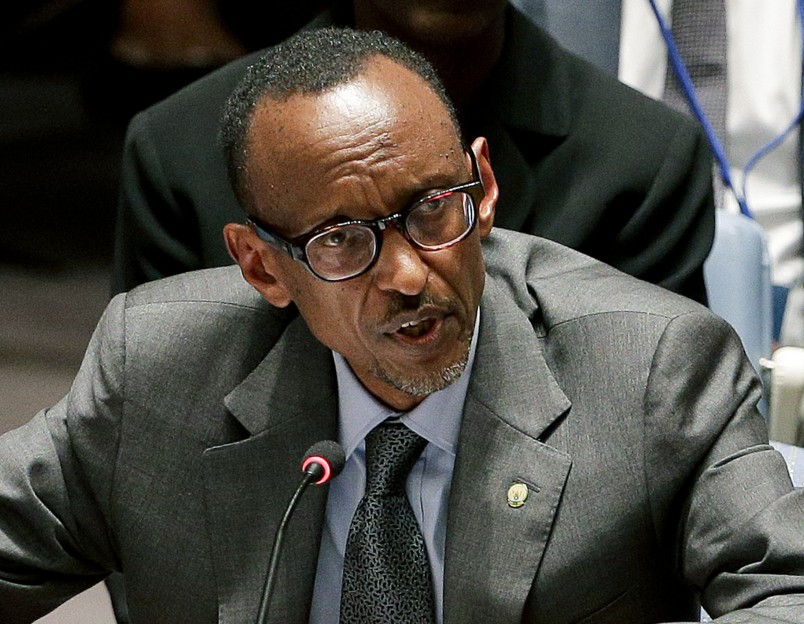 FILE -  In this Sept. 24, 2014 file photo Rwanda President Paul Kagame speaks during a United Nations Security Council meeting at U.N. headquarters. Kagame came to power in 2000, after the genocide, and originally championed his country's constitution limiting presidents to two seven-year terms . But he has become more equivocal as 2017 nears, when he should step down. (AP Photo/Julie Jacobson, File)