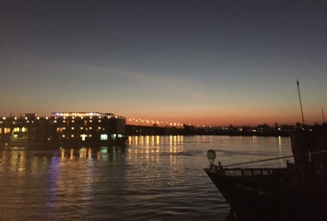 This Aug. 31, 2015, photo, shows a cruise ship during sunset on the Nile River in Luxor, Egypt. With Egypt's once-thriving tourism industry in decline, visitors face a combination of smaller crowds, eager guides and pushy souvenir sellers. (AP Photo/Courtney Bonnell)