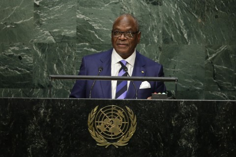Mali's President Ibrahim Boubacar Keita speaks during the 70th session of the United Nations General Assembly at U.N. headquarters Monday, Sept. 28, 2015. (AP Photo/Frank Franklin II)
