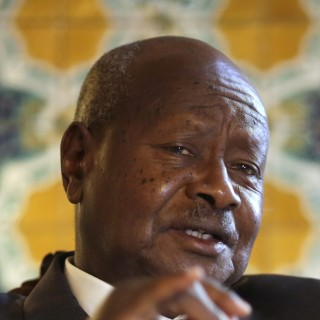 Ugandan President Yoweri Museveni speaks to reporters at the Akasaka Palace state guesthouse in Tokyo Saturday, Sept. 12, 2015. Museveni said Islamic extremists in Somalia may have taken some of his country's troops as prisoners after a recent attack on an African Union base there. He said that 19 soldiers were killed and six were missing following the Sept. 1 attack. He blamed the laxity of the Ugandan commanders for the losses. (AP Photo/Eugene Hoshiko)