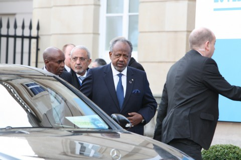 President of Djibouti, Ismail Omar Guelleh arriving at the London Conference on Somalia, 23 February 2012.