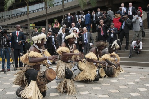 Kenyan Chuka dancers entertain delegates  during the official opening of the Tenth WTO Ministerial Conference in Nairobi, Kenya, Tuesday, Dec. 15, 2015. (AP Photo/Sayyid Azim)