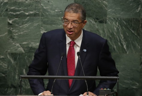 FILE - A Wednesday, Sept. 30, 2015 photo from files showing Benin's Prime Minister, Lionel Zinsou, speaking during the 70th session of the United Nations General Assembly at U.N. headquarters. The spokesman for Benin's Interior Ministry says a helicopter carrying Benin's prime minister has crashed in the country's northwest, but he is unhurt. Leonce Houngbadji said Saturday, Dec. 26, 2015 the helicopter crashed while landing at a stadium in Djougou, in the northwest. He said no one in the helicopter was hurt. (AP Photo/Frank Franklin II, File)