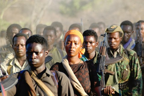 SOUTH OF ETHIOPIAN BORDER, CENTRAL NORTHERN KENYA - FEBRUARY 3: OLF rebels are regrouping in Northern Kenya to safety, February 3rd, 2006, in Kenya. The OLF is orgaznied militarely as a coventional army, with its platoon, batallion, regiments. (Photo by Jonathan Alpeyrie/Getty images)