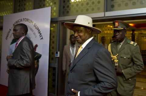 Yoweri Kaguta Museveni, President of Uganda, arrives for the India Africa Forum Summit, at the Indira Gandhi International airport in New Delhi, India, Tuesday, Oct. 27, 2015. The four day summit takes place at the highest political level between the heads of government of 54 nations across Africa and the Indian government. (AP Photo/Saurabh Das)