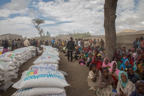 Ziway Dugda district communities waiting for food distribution at Ogolcha food centre in a drought stricken area in Ziway Dugda district, during UN Secretary General, Ban Ki moon's visit to Ethiopia, Sunday, Jan. 31, 2016. (AP Photo/Mulugeta Ayene)