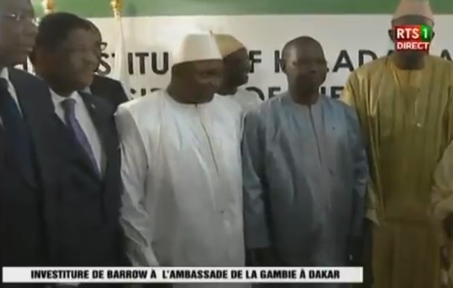 President Barrow of The Gambia takes oath at embassy in Dakar