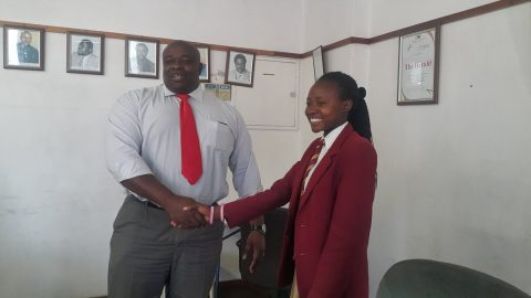 Paida, 17, becomes the first female editor of The Herald in Zimbabwe during Tuesday's #GirlsTakeover day. Photo provided by Angela Machonesa.