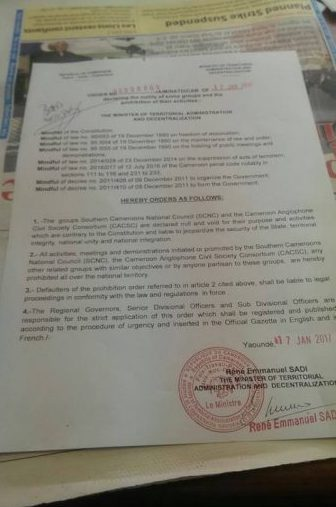 Cameroon bans Anglophone opposition groups; leaders arrested
