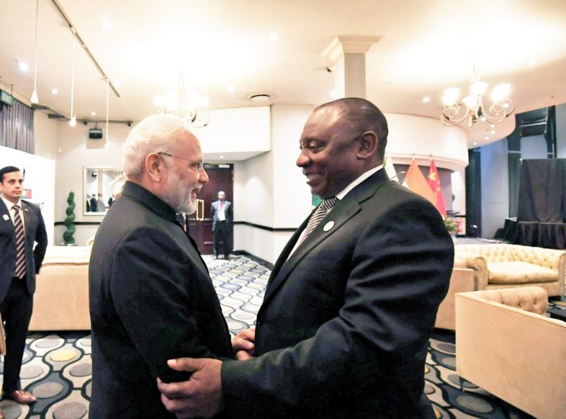 Ramaphosa welcomes India's Modi as BRICS gets under way