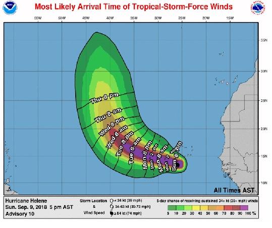 Helene reaches hurricane status, pulls away from Cabo Verde