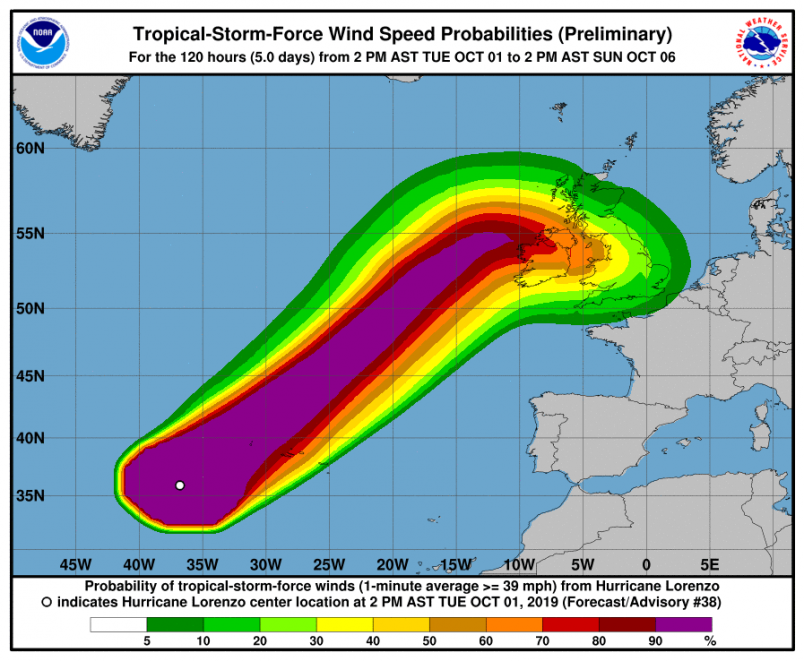 Hurricane Lorenzo near Azores with 25-meter wave forecast
