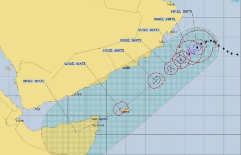 Cyclone Kyarr heads for Socotra, Horn of Africa