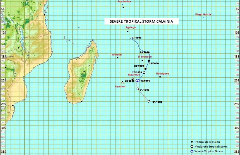 Mauritius warns of wind, rain with storm Calvinia