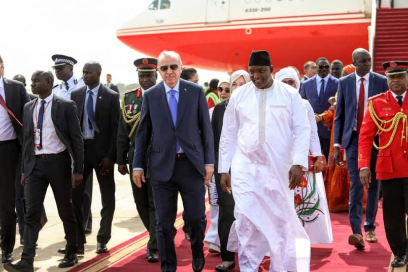 Erdogan arrives for visit in troubled The Gambia