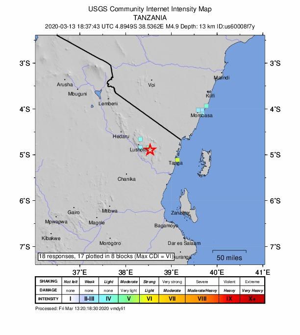 Light earthquake felt in parts of Tanzania, Kenya