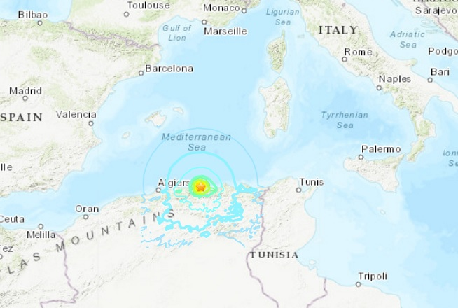 Buildings damaged in quake near Algeria